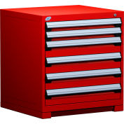 "Rousseau Metal Heavy Duty Modular Drawer Cabinet 6 Drawer Bench High 30""W - Red"