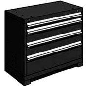 "Rousseau Metal Heavy Duty Modular Drawer Cabinet 4 Drawer Bench High 36""W - Black"