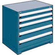 "Rousseau Metal Heavy Duty Modular Drawer Cabinet 5 Drawer Bench High 36""W - Everest Blue"