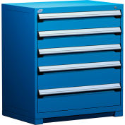 """Rousseau Metal Heavy Duty Modular Drawer Cabinet 5 Drawer Counter High 36""""W - Avalanche Blue"""