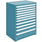 """Rousseau Metal Heavy Duty Modular Drawer Cabinet 11 Drawer Counter High 36""""W - Everest Blue"""