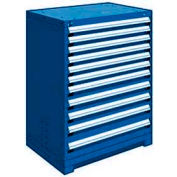 """Rousseau Metal Heavy Duty Modular Drawer Cabinet 11 Drawer Counter High 36""""W - Avalanche Blue"""