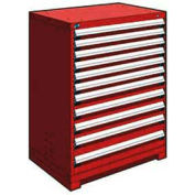 """Rousseau Metal Heavy Duty Modular Drawer Cabinet 11 Drawer Counter High 36""""W - Red"""