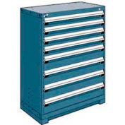 """Rousseau Metal Heavy Duty Modular Drawer Cabinet 8 Drawer Counter High 36""""W - Everest Blue"""