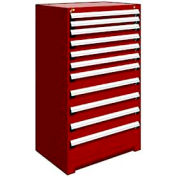 """Rousseau Metal Heavy Duty Modular Drawer Cabinet 11 Drawer Full Height 36""""W - Red"""