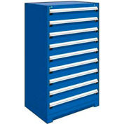 """Rousseau Metal Heavy Duty Modular Drawer Cabinet 9 Drawer Full Height 36""""W - Avalanche Blue"""