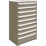 "Rousseau Metal Heavy Duty Modular Drawer Cabinet 9 Drawer Full Height 36""W - Light Gray"