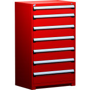 """Rousseau Metal Heavy Duty Modular Drawer Cabinet 7 Drawer Full Height 36""""W - Red"""