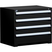 "Rousseau Metal Heavy Duty Modular Drawer Cabinet 4 Drawer Bench High 36""W - Black"