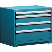 "Rousseau Metal Heavy Duty Modular Drawer Cabinet 4 Drawer Bench High 36""W - Everest Blue"