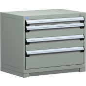 "Rousseau Metal Heavy Duty Modular Drawer Cabinet 4 Drawer Bench High 36""W - Light Gray"