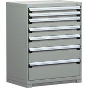 "Rousseau Metal Heavy Duty Modular Drawer Cabinet 7 Drawer Counter High 36""W - Light Gray"