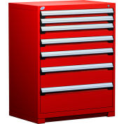 "Rousseau Metal Heavy Duty Modular Drawer Cabinet 7 Drawer Counter High 36""W - Red"