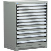 "Rousseau Metal Heavy Duty Modular Drawer Cabinet 11 Drawer Counter High 36""W - Light Gray"