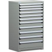 "Rousseau Metal Heavy Duty Modular Drawer Cabinet 11 Drawer Full Height 36""W - Light Gray"
