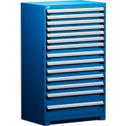 "Rousseau Metal Heavy Duty Modular Drawer Cabinet 14 Drawer Full Height 36""W - Avalanche Blue"