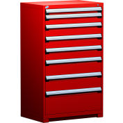 """Rousseau Metal Heavy Duty Modular Drawer Cabinet 8 Drawer Full Height 36""""W - Red"""