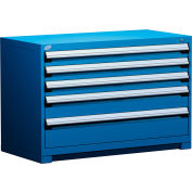 "Rousseau Metal Heavy Duty Modular Drawer Cabinet 5 Drawer Bench High 48""W - Avalanche Blue"
