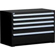 "Rousseau Metal Heavy Duty Modular Drawer Cabinet 5 Drawer Bench High 48""W - Black"