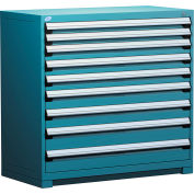 "Rousseau Metal Heavy Duty Modular Drawer Cabinet 9 Drawer Counter High 48""W - Everest Blue"