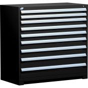 "Rousseau Metal Heavy Duty Modular Drawer Cabinet 9 Drawer Counter High 48""W - Black"
