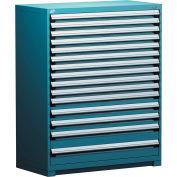 "Rousseau Metal Heavy Duty Modular Drawer Cabinet 15 Drawer Full Height 48""W - Everest Blue"