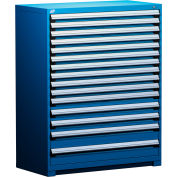 "Rousseau Metal Heavy Duty Modular Drawer Cabinet 15 Drawer Full Height 48""W - Avalanche Blue"