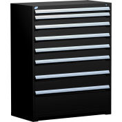 "Rousseau Metal Heavy Duty Modular Drawer Cabinet 8 Drawer Full Height 48""W - Black"