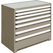 "Rousseau Metal Heavy Duty Modular Drawer Cabinet 7 Drawer Counter High 48""W - Light Gray"