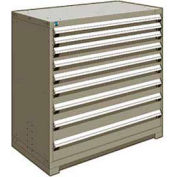 "Rousseau Metal Heavy Duty Modular Drawer Cabinet 9 Drawer Counter High 48""W - Light Gray"