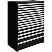"Rousseau Metal Heavy Duty Modular Drawer Cabinet 15 Drawer Full Height 48""W - Black"