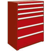 """Rousseau Metal Heavy Duty Modular Drawer Cabinet 6 Drawer Full Height 48""""W - Red"""