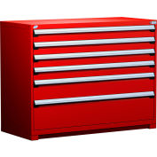 "Rousseau Metal Heavy Duty Modular Drawer Cabinet 6 Drawer Counter High 60""W - Red"