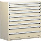 "Rousseau Metal Heavy Duty Modular Drawer Cabinet 9 Drawer Full Height 60""W - Beige"