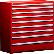"""Rousseau Metal Heavy Duty Modular Drawer Cabinet 9 Drawer Full Height 60""""W - Red"""