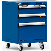 """Rousseau Metal 3 Drawer Heavy-Duty Mobile Modular Drawer Cabinet - 24""""Wx21""""Dx33-1/4""""H Avalanche Blue"""