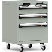 """Rousseau Metal 3 Drawer Heavy-Duty Mobile Modular Drawer Cabinet - 24""""Wx21""""Dx33-1/4""""H Light Gray"""
