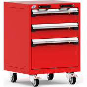 """Rousseau Metal 3 Drawer Heavy-Duty Mobile Modular Drawer Cabinet - 24""""Wx21""""Dx33-1/4""""H Red"""