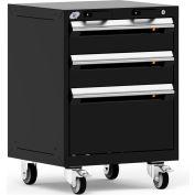 "Rousseau Metal 3 Drawer Heavy-Duty Mobile Modular Drawer Cabinet - 24""Wx21""Dx33-1/4""H Black"