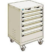 """Rousseau Metal 6 Drawer Heavy-Duty Mobile Modular Drawer Cabinet - 24""""Wx21""""Dx35-1/4""""H Beige"""