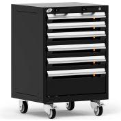"Rousseau Metal 6 Drawer Heavy-Duty Mobile Modular Drawer Cabinet - 24""Wx21""Dx35-1/4""H Black"