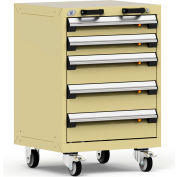 "Rousseau Metal 5 Drawer Heavy-Duty Mobile Modular Drawer Cabinet - 24""Wx21""Dx35-1/4""H Beige"