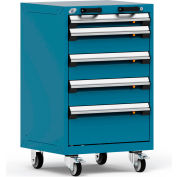 "Rousseau Metal 5 Drawer Heavy-Duty Mobile Modular Drawer Cabinet - 24""Wx21""Dx39-1/4""H Everest Blue"