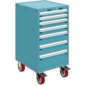 "Rousseau Metal 7 Drawer Heavy-Duty Mobile Modular Drawer Cabinet - 24""Wx21""Dx45-1/2""H Everest Blue"