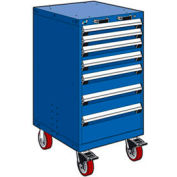 """Rousseau Metal 7 Drawer Heavy-Duty Mobile Modular Drawer Cabinet - 24""""Wx21""""Dx45-1/2""""H Avalanche Blue"""