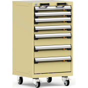"""Rousseau Metal 7 Drawer Heavy-Duty Mobile Modular Drawer Cabinet - 24""""Wx21""""Dx43-1/4""""H Beige"""