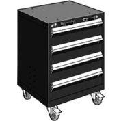 "Rousseau Metal 4 Drawer Heavy-Duty Mobile Modular Drawer Cabinet - 24""Wx27""Dx33-1/4""H Black"