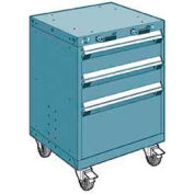 "Rousseau Metal 3 Drawer Heavy-Duty Mobile Modular Drawer Cabinet - 24""Wx27""Dx33-1/4""H Everest Blue"