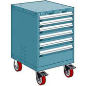 "Rousseau Metal 6 Drawer Heavy-Duty Mobile Modular Drawer Cabinet - 24""Wx27""Dx37-1/2""H Everest Blue"