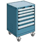 "Rousseau Metal 6 Drawer Heavy-Duty Mobile Modular Drawer Cabinet - 24""Wx27""Dx35-1/4""H Everest Blue"